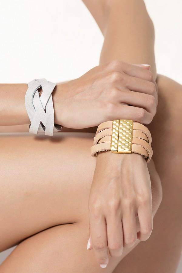 braided leather cuff