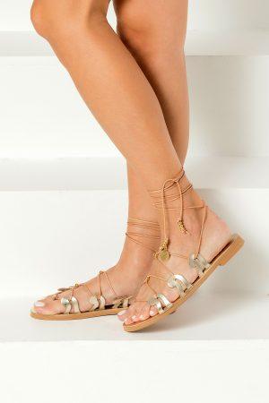 gold lace up sandals