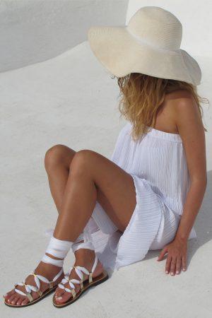 white bridal sandals flat