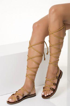 high knee sandals