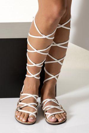 Bridal gladiator sandals