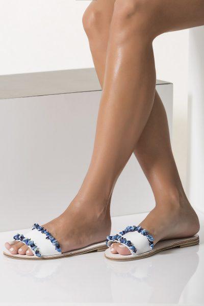 beaded sandals blue