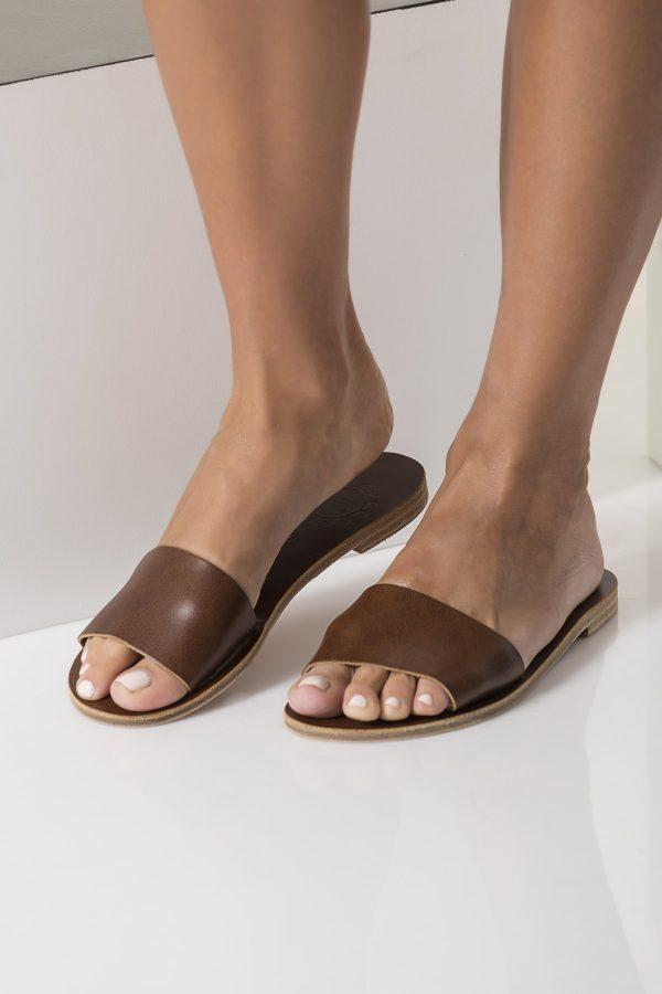 minimalist leather slide sandals