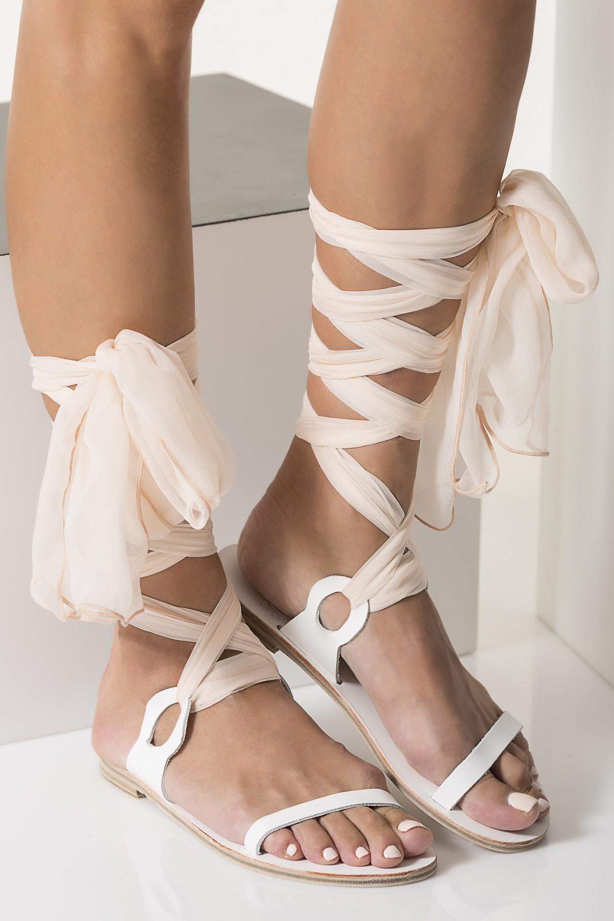 flat white wedding sandals