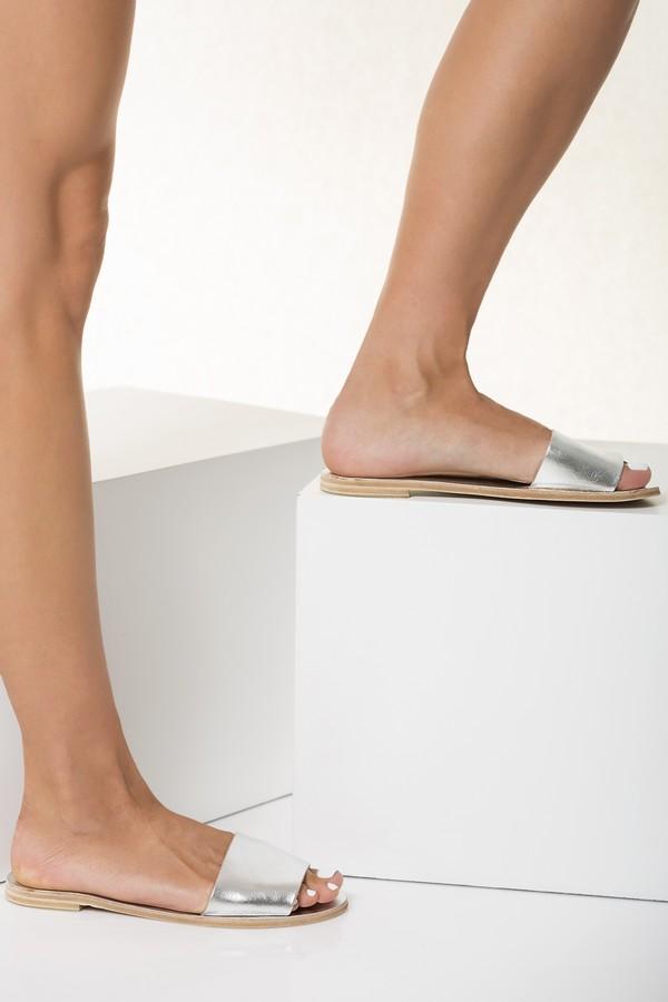 open toe flat slides