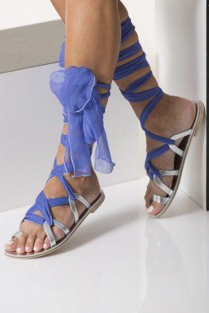 silver metallic sandals