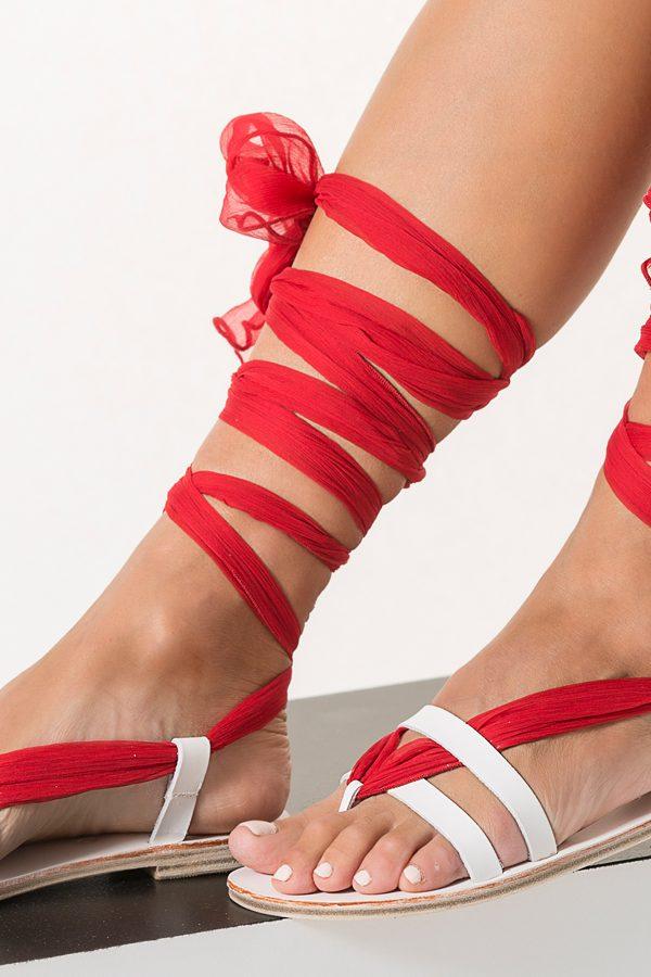 red bridal sandals
