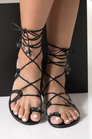 Luxurious black lace up sandals