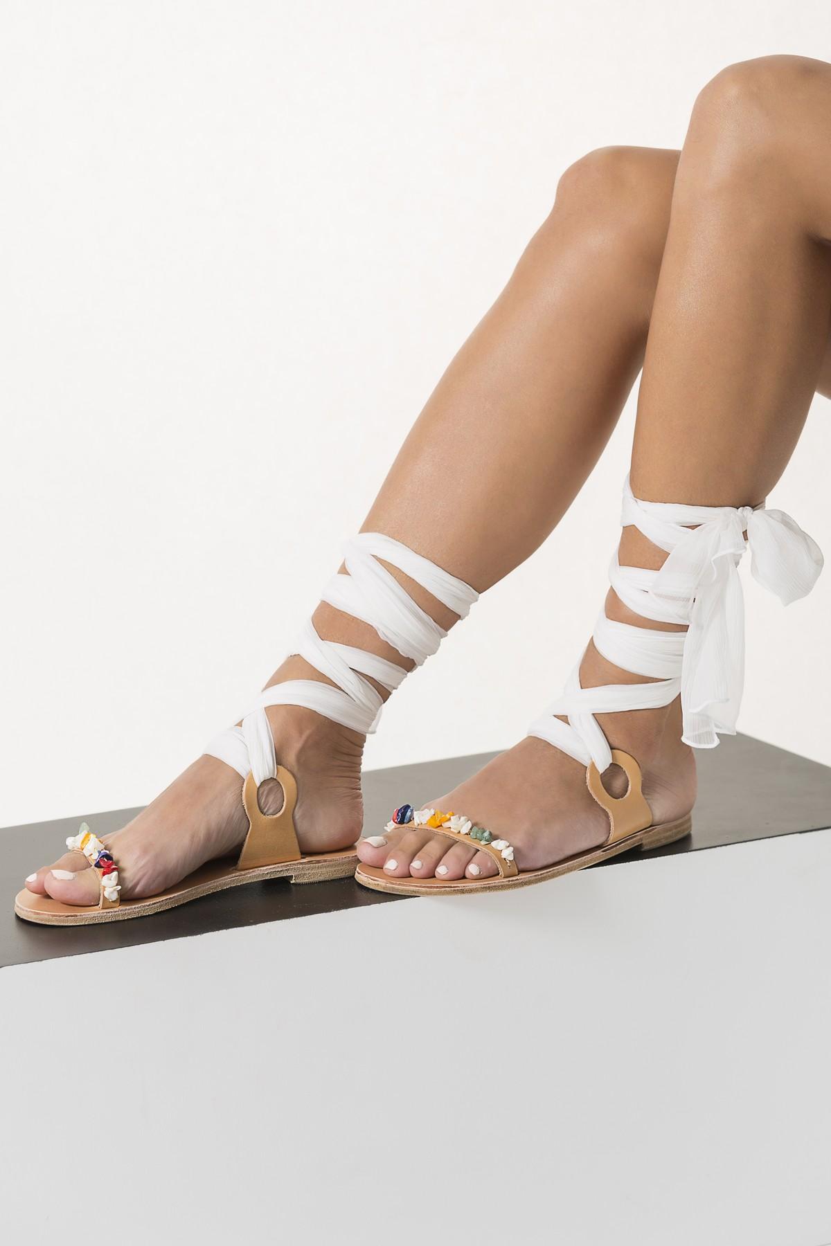 Beach Wedding Lace Up Sandals Beaded Quot Charis Quot Greek