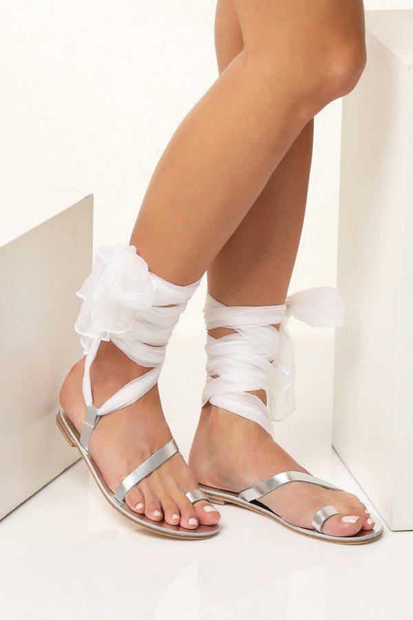silver bridal flat sandals