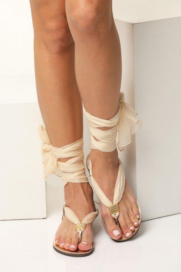 gold flat wedding sandals