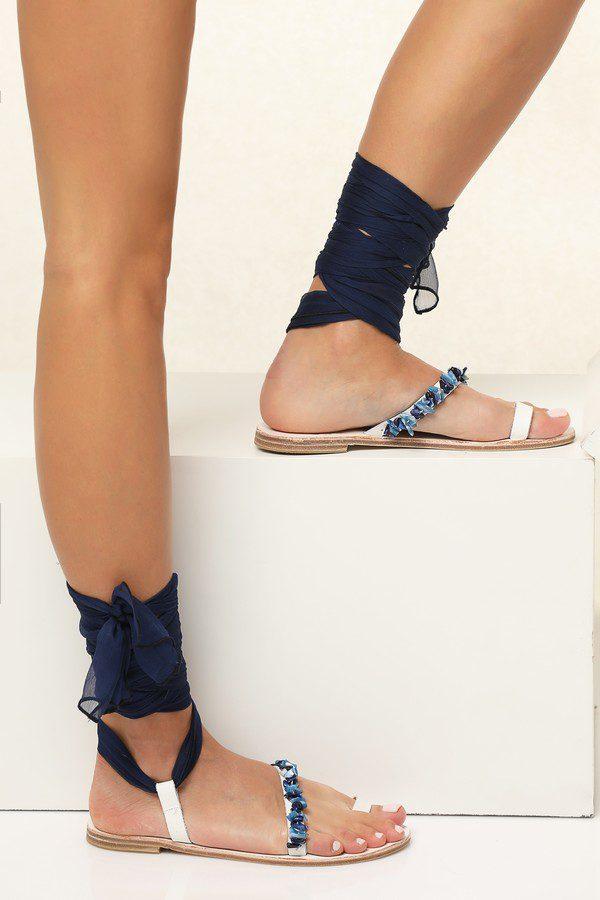 eftychia beaded sandals blue