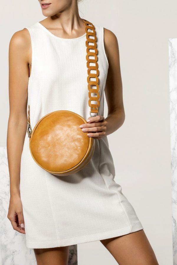Cross-Body Round Leather Bag