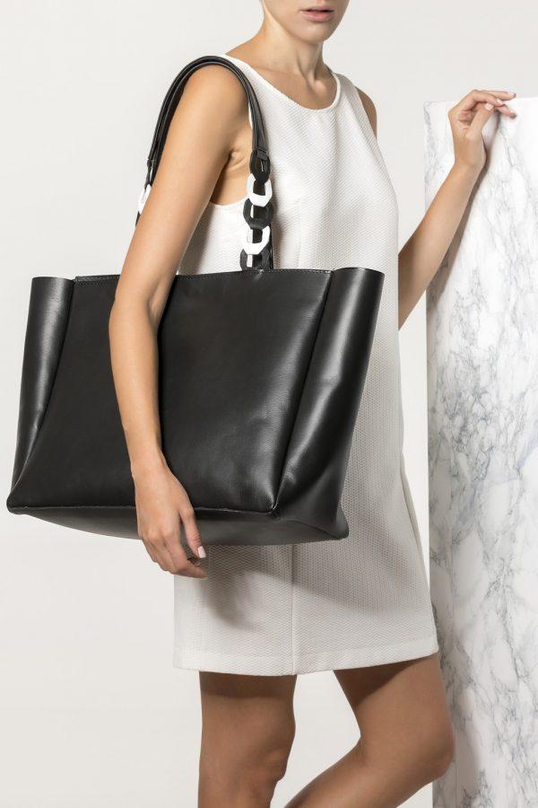 Black Leather Shopping Bag