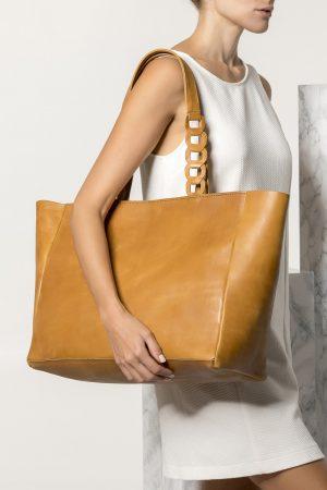 Δερμάτινη ταμπά τσάντα tote