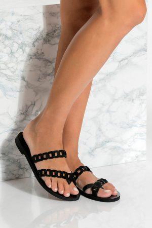 Black Slide Leather Sandals