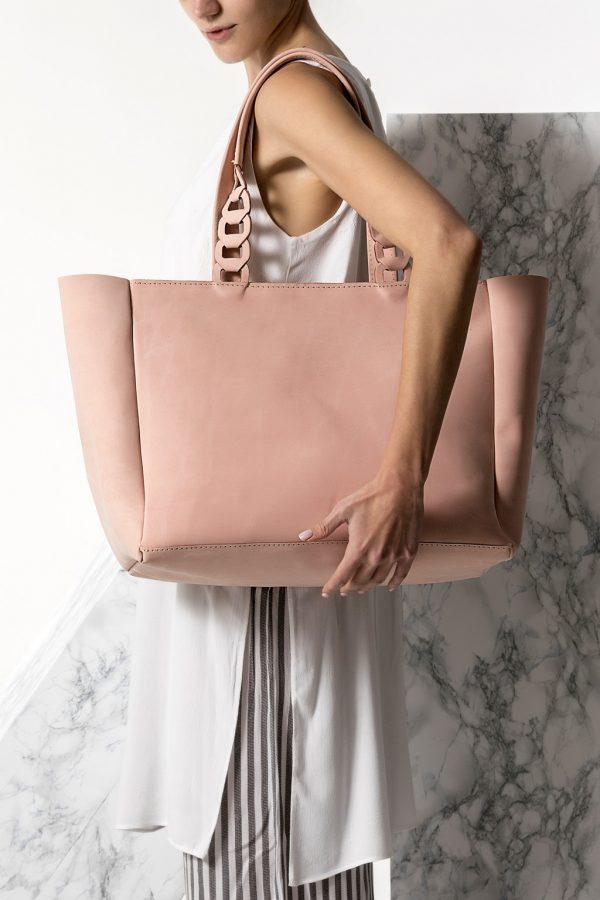 nude handmade bag