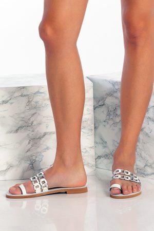 White Toe Ring Flats