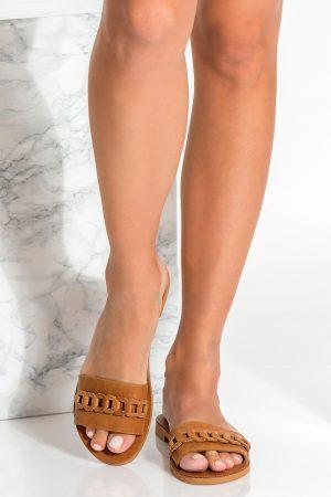 Brown Leather Slide Sandals