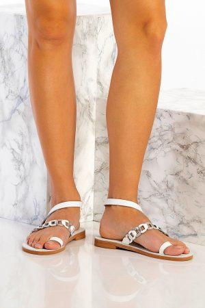 Λευκά γυναικεία σανδάλια