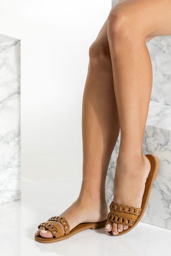 Brown Leather Slides