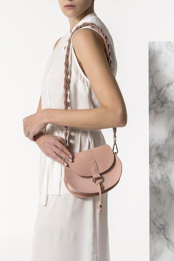 nude leather mini bag