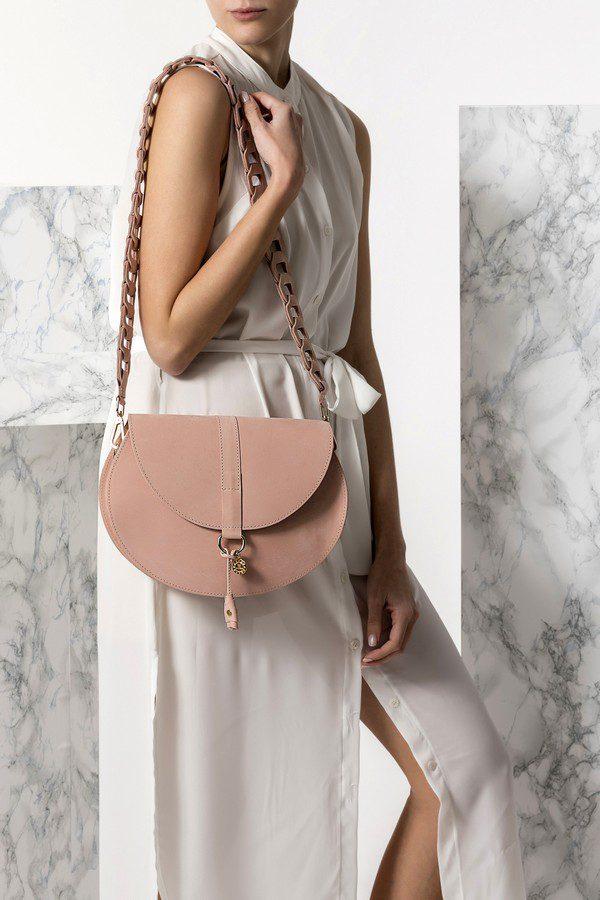 cross-body leather bag nude