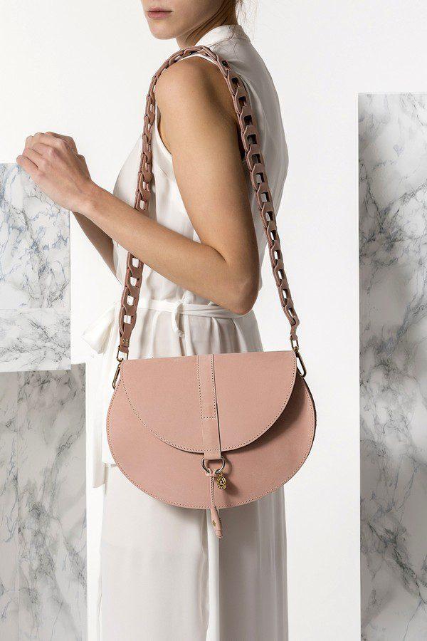 nude cross-body leather bag