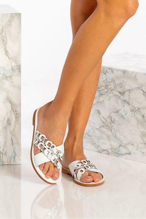 Women's White Flat Sandals