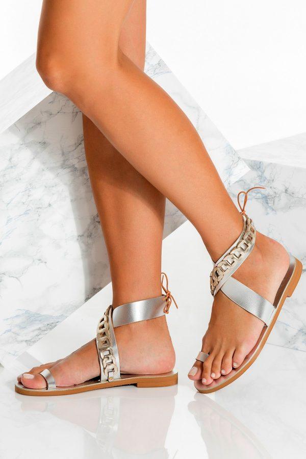 Metallic Toe Ring Sandals