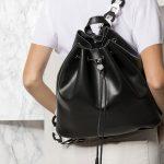 Greek leather backpack in black