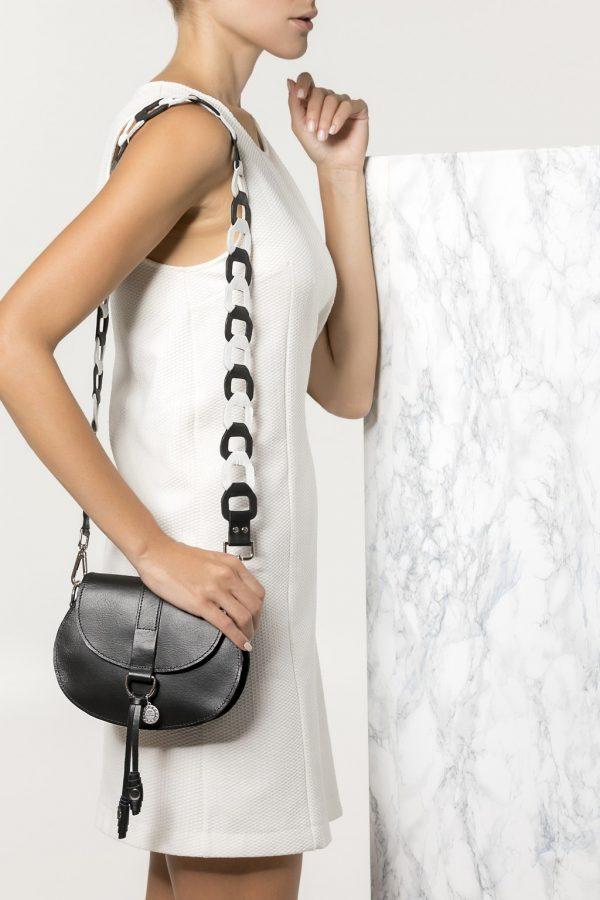 black leather bag