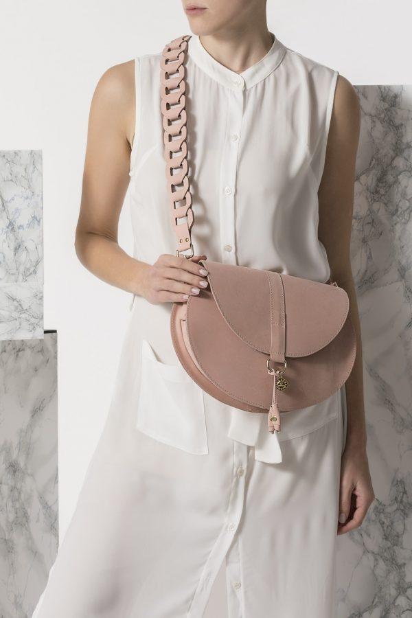 Pink Crossbody Leather Bag