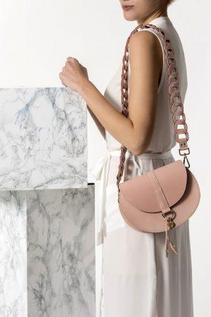 Ροζ τσάντα ώμου δερμάτινη