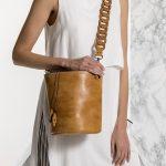 Καφέ γυναικεία τσάντα από δέρμα