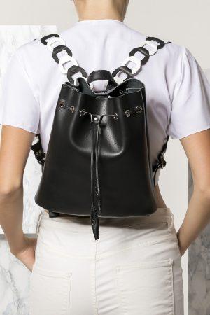 Mini Black Leather Backpack