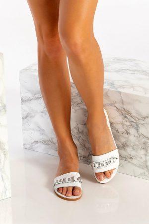 White Leather Slip on Sandals