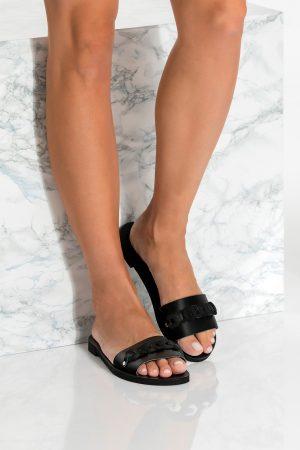 Black flat summer shoes