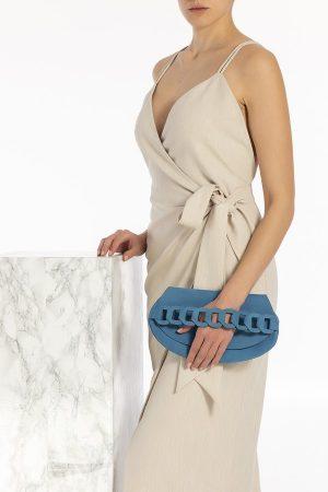 "Clutch Leather Bag Handmade of Nubuck in Blue ""Iro"""