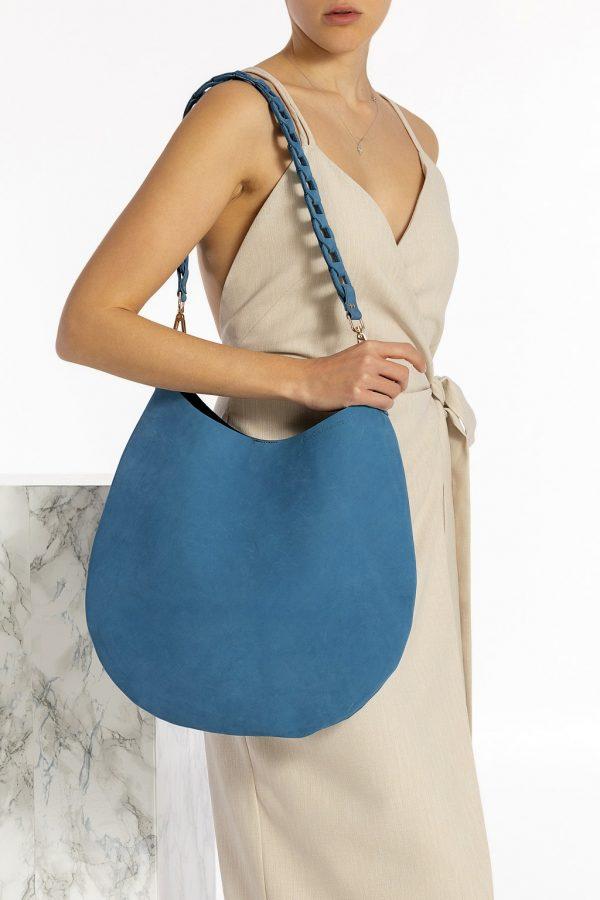 Δερμάτινη μπλε τσάντα ώμου