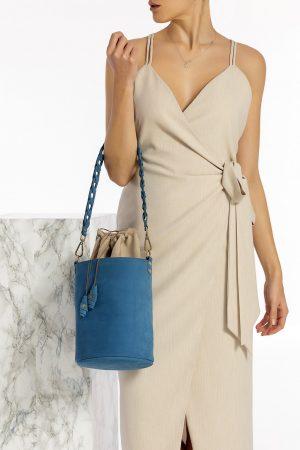 Blue Leather Bucket Bag