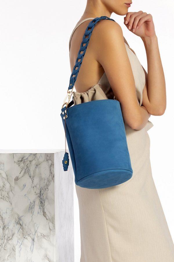 Δερμάτινη τσάντα μπλε