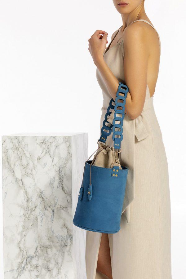 Δερμάτινη τσάντα tote μπλε
