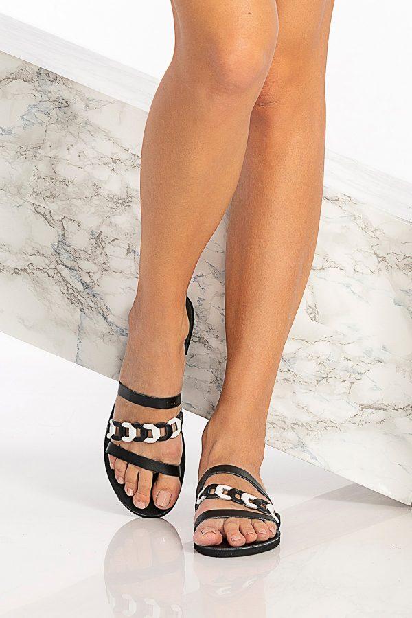 Black Greek Leather Sandals
