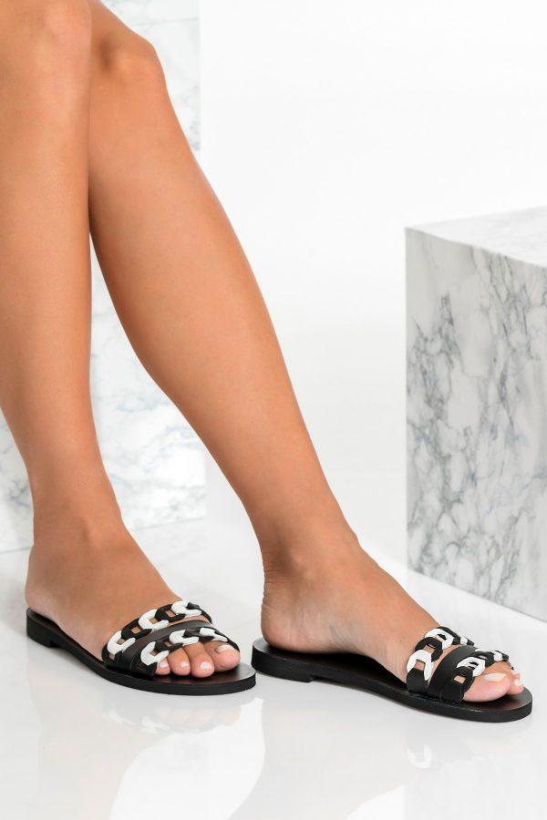 Black Flat Leather Sandals