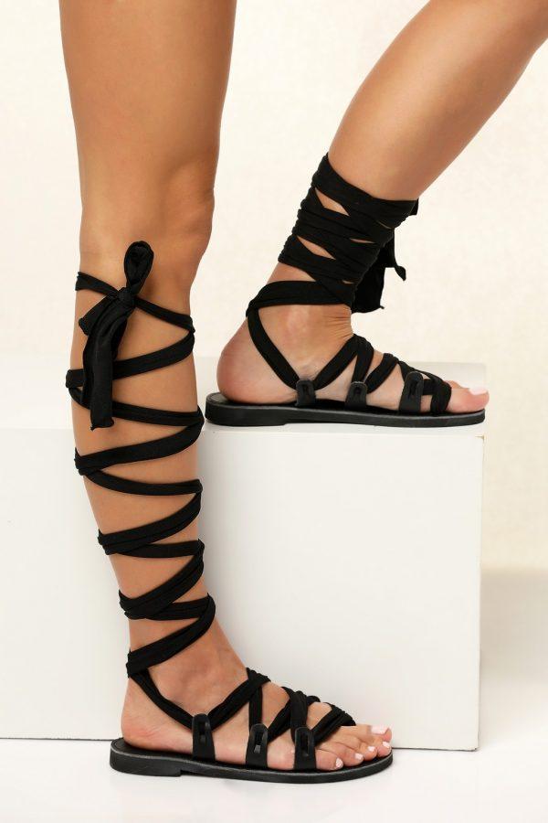 Black Gladiator Sandals for Women