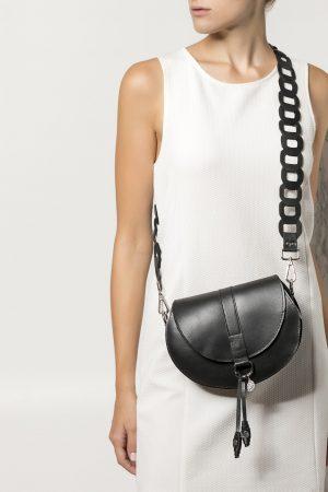 Shoulder Leather Bag in Black Clio Medium