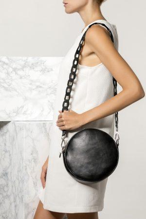 Round Leather Black Bag