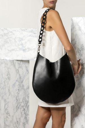 Shoulder Leather Bag in Black Kyveli