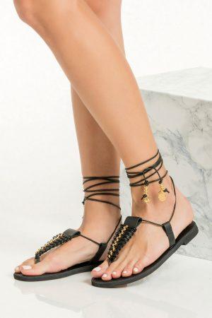 Boho Black Sandals Flat